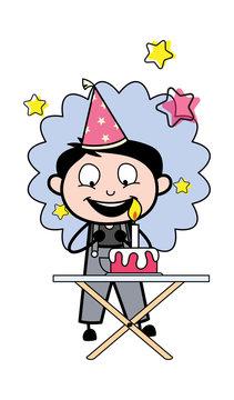 Celebrating Birthday Party - Retro Repairman Cartoon Worker Vector Illustration
