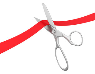 Scissors Cut Red Ribbon Isolated