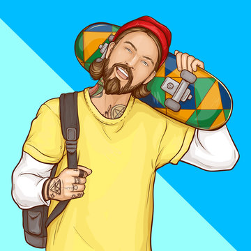 Skater boy, hipster holding skateboard, smiling tattooed guy with beard wearing fashioned clothing and shoulder bag on blue background in pop art retro comic book style. Cartoon vector Illustration