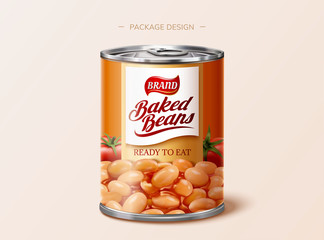 Baked beans tin package design