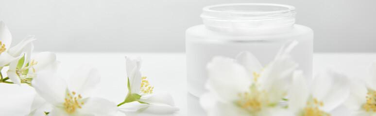 panoramic shot of jasmine flowers on white surface near jar with cream