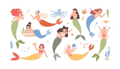 Collection of cute funny mermaids isolated on white background. Bundle of adorable fairytale or mythological sea creatures. Set of underwater princesses. Flat cartoon colorful vector illustration.