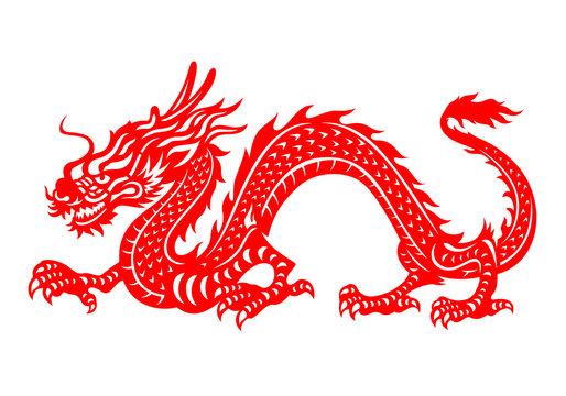 Red paper cut a China Dragon symbols vector art design