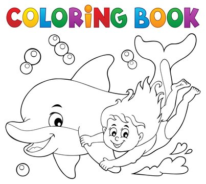 Coloring book girl and dolphin theme 1