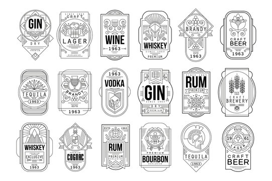 Alcohol labels set, retro alcohol industry monochrome emblem vector Illustration on a white background