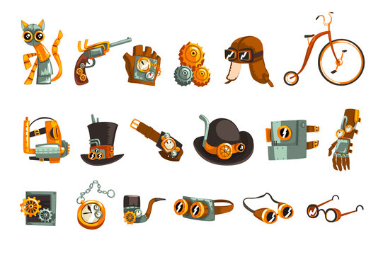 Steampunk objects and mechanism set, antique mechanical devices, clothing with gears vector Illustration on a white background