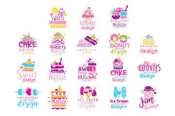 Sweets logo original design set, kids menu badges, natural organic food hand drawn vector Illustrations on a white background