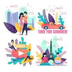 Motivational Summer Cartoon Illustration Flat Set