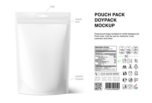 Pouch bags mockup with nutrition facts isolated on white background. Vector illustration. Front and rear views. Can be use for template your design, presentation, promo, ad. EPS10.