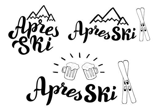 Apres ski typography logo set. Mountain resort banner, poster. Apres ski bar leaflet. Vector eps 10.