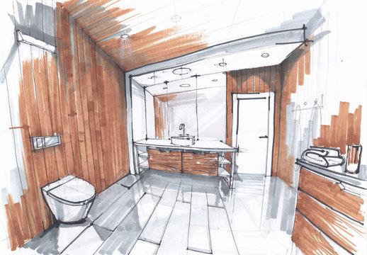 handmade sketch of a Luxury modern bathroom, sink with mirror, watercloset in tiled bathroom in grey and brown colors