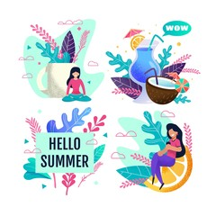 Hello Summer Advertisement Set with Resting People