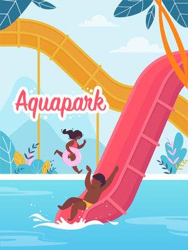 Advertising Flyer is Written Aquapark Cartoon.