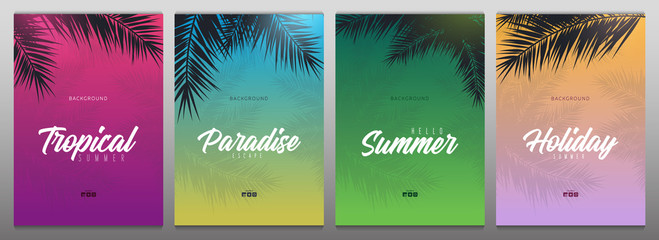Set of Summer Tropical palm leaves. Exotic palms tree. Floral Backgrounds.