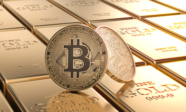 gold bitcoin coins laid on ingots. concept of cryptocurrency and money.