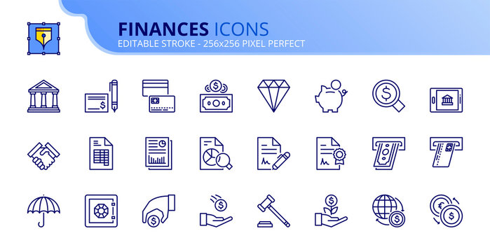 Simple set of outline icons about finances