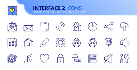 Simple set of outline icons about interface 2