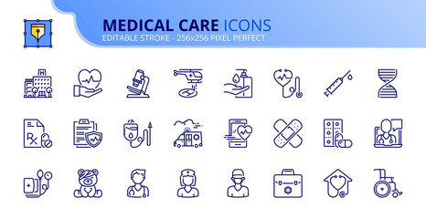Simple set of outline icons about hospital and medical care