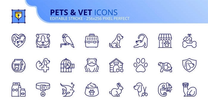 Simple set of outline icons about pets and vet