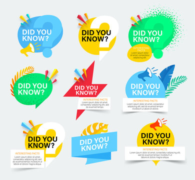 Set of colorful badges with did you know question. Isolated on white background. Did you know banner with megaphone and tropical leaves.