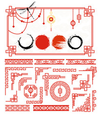 Traditional asian frame set for cards and picture frame. Grunge ink circle set in Japanese style and design elements