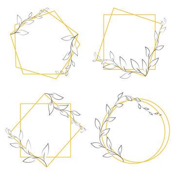 Hand drawn floral frame. Vector illustration. Lines, borders, leaves ornament. Doodle design element for decoration.