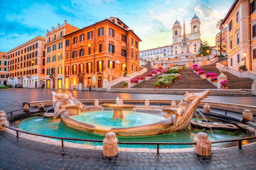 Aluminium Prints Rome Piazza de Spagna in Rome, italy. Spanish steps in the morning. Rome architecture and landmark.