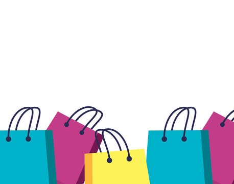 set of shopping bags isolated icon
