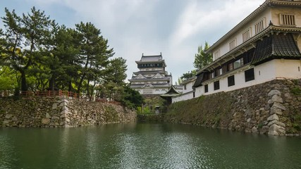 Wall Mural - Kokura castle landmark in Kitakyushu, Japan time lapse time lapse