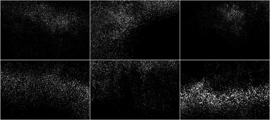 Set of White Grainy Texture Isolated On Black Background. Dust Overlay Texture. Noise Particles. Snow Effects Pack. Digitally Generated Image. Vector Illustration, EPS 10. Fotobehang