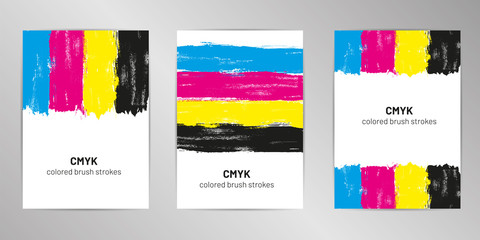 CMYK brush cover design background set A4 format.