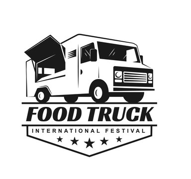 Vector logo in monochrome style. Black and white illustration on the theme of private business. Family business. Food truck. Fast food, a car with food. Vegetable groceries. Image for logo, emblem.