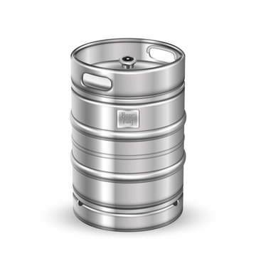 Classic Stainless Steel Beer Keg Barrel Vector. Blank Standard Aluminum Sealed Keg With Special Valve Fitting For Alcoholic Brewing Drink Production. Pub Container Realistic 3d Illustration