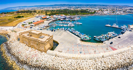Garden Poster Cyprus Cyprus. Pathos. The Paphos castl panoramic view from the sea. The medieval port castle in the harbour. The museums of Cyprus. Mediterranean coast. Tourist landmarks Paphos. Travel to Cyprus.