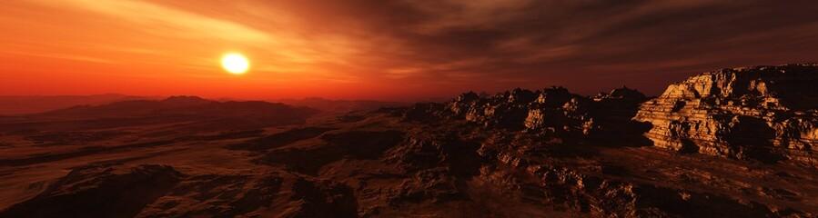 Printed kitchen splashbacks Brown Panorama of Mars at sunset, sunrise above the surface of Mars, Martian landscape, 3d rendering
