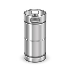 Modern Chrome Metal Beverage Keg Barrel Vector. Blank Tall Steel Keg For Transportation Delivery To Bar And Alcohol Drink Buffer Storage On Warehouse. Container Realistic 3d Illustration