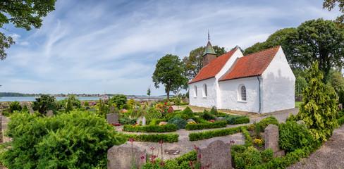 Hjarnoe island church one of the smallest in Denmark