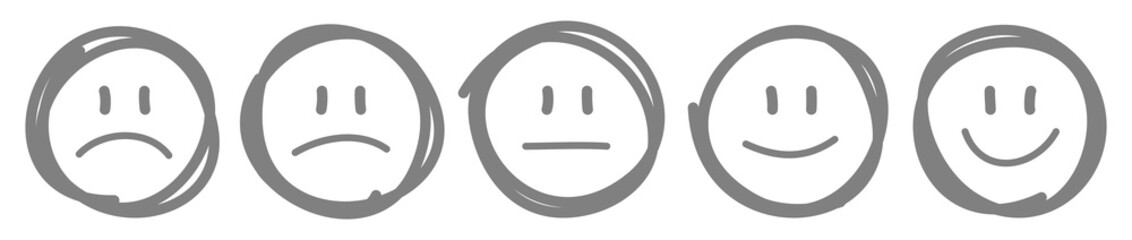 5 Handgezeichnete Gesichter Feedback/Stimmung Kontur Grau