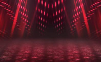 Empty background scene. Dark reflection of the street on the wet asphalt. Rays of red neon light in...