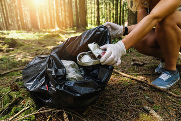 woman hand picking up a canned tin to clean up the forest from garbage. nature and environment cleaning concept image.