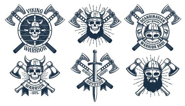Viking warrior mascot set. Battle axes and shields on the Viking emblems. Vector retro illustration.