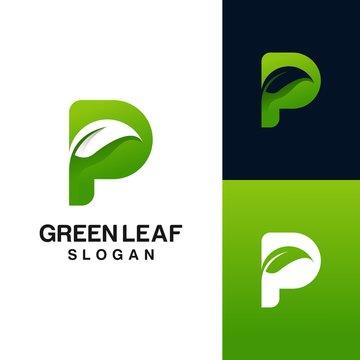 letter p with leaf logo design. green leaf logo vector illustration