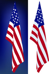 star-striped USA flag hanging down on a white and dark background