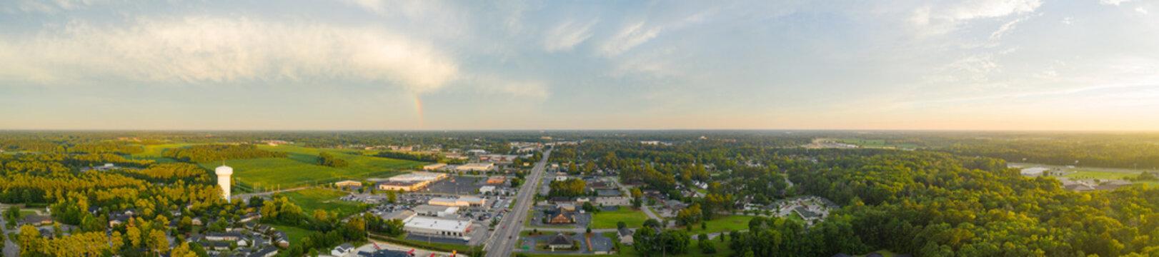 Aerial panorama Lumberton North Carolina USA