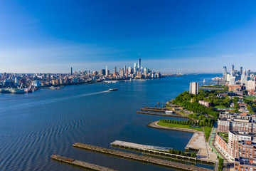 Wall Mural - Aerial shot of the Hudson River New York USa