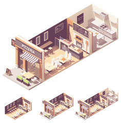 Vector isometric pizzeria interior cross-section
