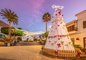 Wall Mural - Landscape with Christmas market in Puerto de Santiago city, Tenerife, Canary island, Spain