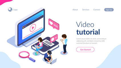 Isometric online learning concept. Video tutorials on the screen of a computer or phone. People on the background of the monitor and a large book. Can use for web banner, infographics, hero images.