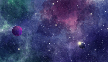 Texture of soft colored abstract watercolor space background Fototapete