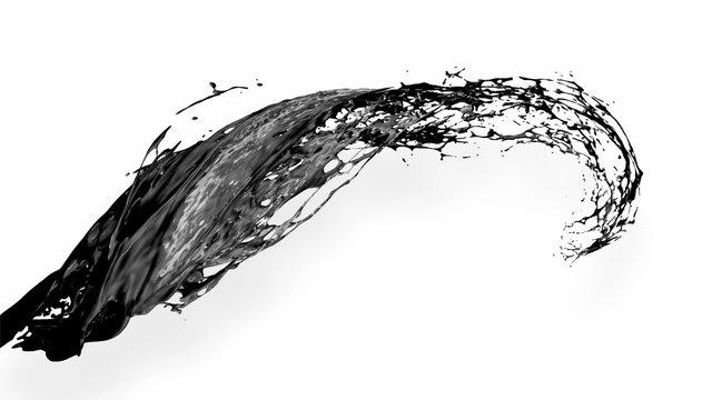 black splash like petroleum is hanging in the air. 3d rendering of liquid splash in cartoon style. 10